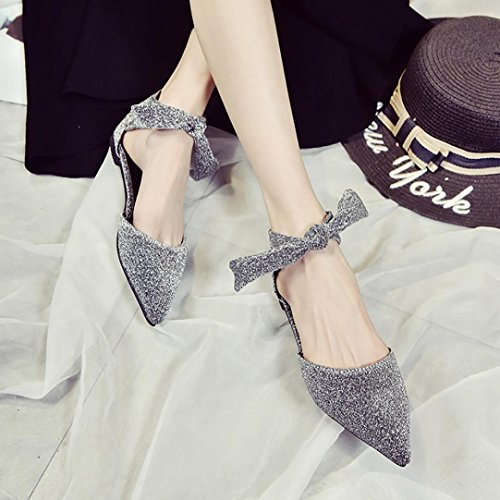Jamicy Women's Summer Ankle Straps Buckle Pointed Toe Flat Leather Shoes Gray qvb0D0LW