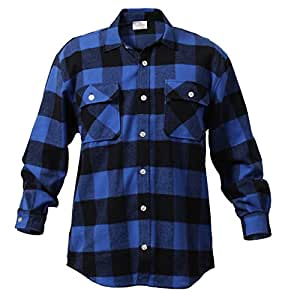 Rothco Heavy Weight Plaid Flannel Shirt, Blue/Small