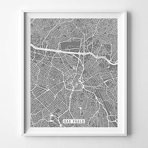 Sao Paulo Brazil City Street Map Wall Art Home Decor Poster Urban City Hometown Road Print - 70 Color Choices - Unframed
