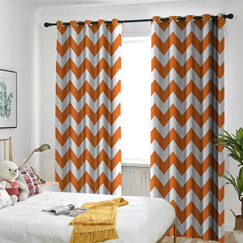 one1love Chevron Decor Window Curtains Halloween Pumpkin Color Chevron Traditional Holidays Autumn Celebrate Curtains for Living Room 120