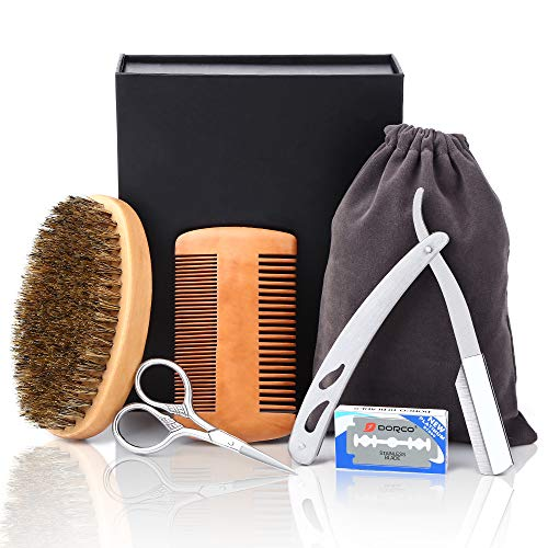 Senignol Beard Brush and Comb Set, 5-in-1 Beard Grooming Kit- Boar Bristle Beard Brush | Wood Comb | Straight Edge Razor With 10 Blades | Beard Scissors Beard Grooming Care Kit Gift Sets for Men