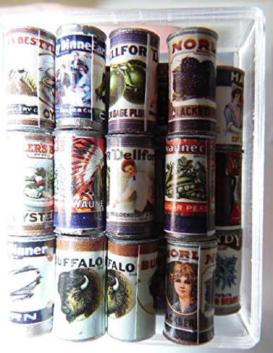 "Dollhouse Miniature ""Cans"" of Food, Old Fashioned Labels, Pkg of 24"