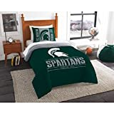 2pc NCAA Michigan State Spartans Comforter Twin Set, Green, College Basket Ball Themed, Team Spirit, Sports Patterned Bedding, Team Logo, Unisex, Fan Merchandise
