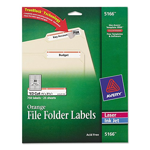 Avery 5166 Permanent Filing Labels, 1/3 Cut, 750/PK, Orange ()