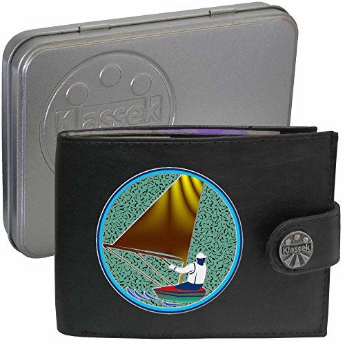 Sailing Yachting Man Boat Segeln Yachting Man Schiff Klassek Herren Geldbörse Portemonnaie Brieftasche aus echtem Leder schwarz Geschenk Präsent mit Metall Box