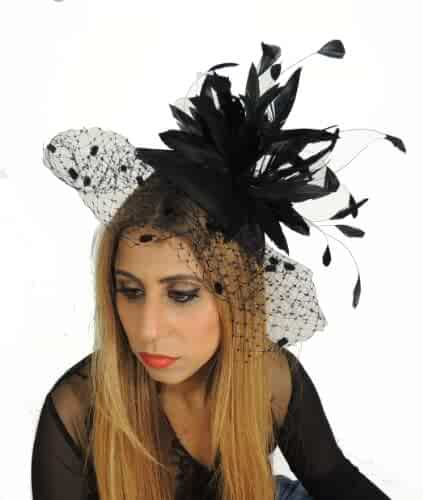 b883b983 Gorgeous Jasmine Ascot/Derby Fascinator Hat with Beautiful Silk Flowers and  Burnt Coq Feathers -
