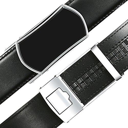 【New 2018 Version】Golf Belts for Men Black Leather with Removable Click Buckle Automatic Ratchet Belt Adjustable Dress Belt 1 3/8'' by WAYMO (Image #3)