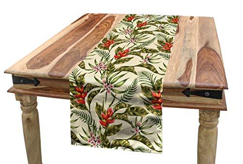 ABAKUHAUS Hoja Camino de Mesa, Aloha Vintage Romantica, Rectangular para la Cocina Estampado Lavable No Destine, 40 x 225 cm, Multico