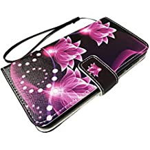 For ZTE Quest Legacy Virgin Assurance QLink N817 N-817 Wallet Credit Card Stand Pouch Case Phone Cover + Gift Stand (Wallet Purple Lotus)