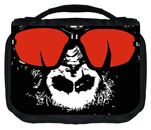 Gorilla In Red Shades Rosie Parker Inc. TM Small Hanging Toiletry Case with 3 Compartments and Detachable Hanger (Aviator Traveler Case)