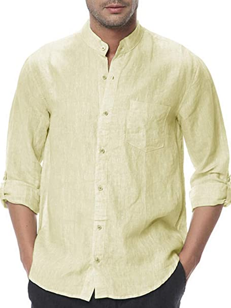 Men/'s Summer Fashion Personality Cotton Linen Long Sleeve Casual Loose Tops Tee