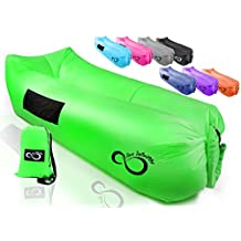 Live Infinitely Inflatable Air Lounge Chair Bag Features Headrest, 2 Pockets, 700 Gauge Inner Liner, 420D Ripstop Exterior & Travel Bag Use On Beach, Festivals, Or In The Pool 9' Long
