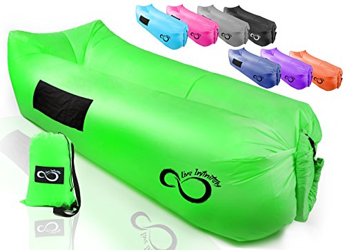 Live Infinitely Inflatable Air Lounger Chair Features Headrest, 2 Pockets, 700 Gauge Inner Liner, 420D Ripstop Exterior & Travel Bag Use On Beach Or In The Pool 9' Long & Holds 500 (Lime Green)