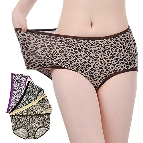 AMZCH Women's Panties Leopard Stretch Underwear Soft Fashion Briefs Pack 4 ()