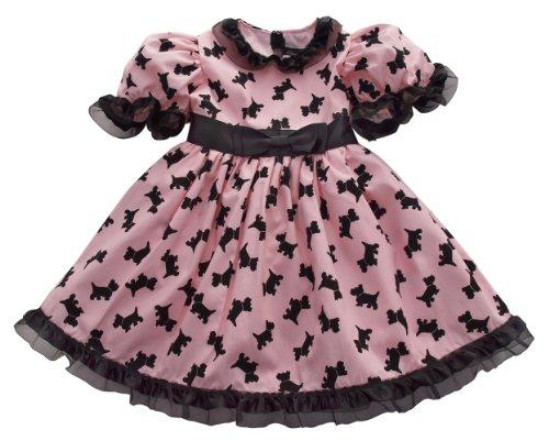Scottie Dog Dress - Chase 'N London Girl's Black Scottie Dogs Dress 7 Pink