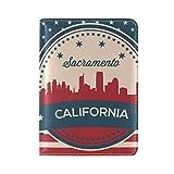 Vintage American Flag California State Sacramento Skyline Leather Passport Cover - Holder - for Men & Women - Passport Case