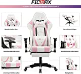 Ficmax Girl Gaming Chair Pink with Footrest, Racing Style Gamer Chair with Massage, Reclining Computer Chair for Gaming, Ergonomic Gamer Chair for E-Sports, Height Adjustable Gaming Desk Chair