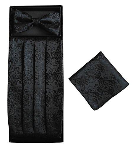 Simpowe Mens Matching Paisley Pocket Square Bow Tie and Cummerbund Set (One Size, Black) ()