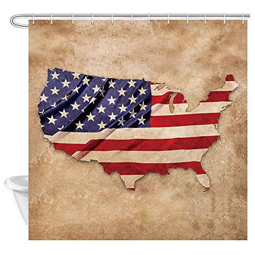 (NYMB USA Flag Shower Curtains, American Flag in Shape of United States Map on Brown Background Shower Curtains for Bathroom, Fabric Bathroom Curtain Accessory 12PCS Hooks, 69X70 in Curtains)