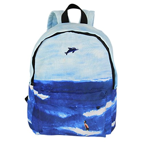 Lightweight Backpack Embroidery Landscape Shopping