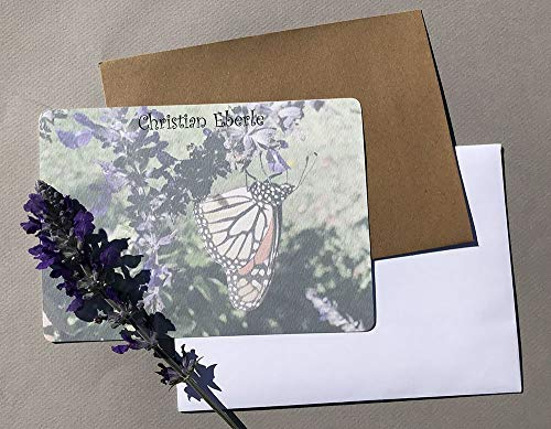 Monarch Butterfly Personalized Flat Note Card Set, Women's Contemporary Garden Stationery Set, Girl's Custom Note Card Set, Flat Cards With Envelopes ()