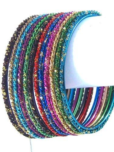 Bellydance Bangle Bracelets Multicolored Assorted Set of 12 Large Size (2 5/8