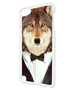 Wolf in a Tux TM White Plastic Snap-On Case For The Apple iPod iTouch 5th Generation Made in the USA