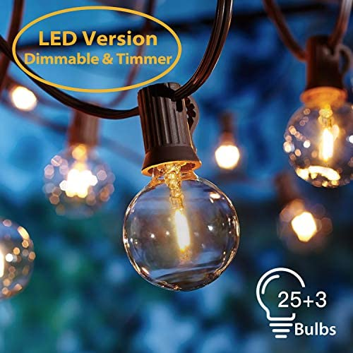 Guirnaldas luminosas de Exterior,[LED Versión] OxyLED G40 8.3 Metros 28 Bombillas Regulable Temporizador Luces de la secuencia del Jardín al Aire Libre,Decorative String Luces,Garden Terrace Luces: Amazon.es: Iluminación