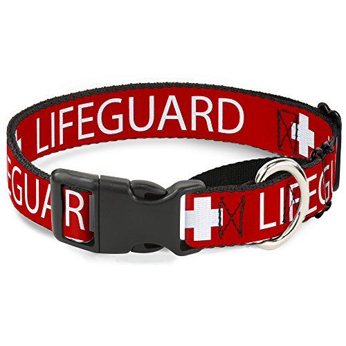 Buckle Down MGC-W31287-WM Lifeguard/Logo Red/White Martingale Dog Collar, -