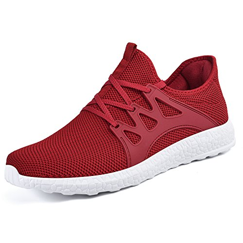 White Red Mens Shoes - Mxson Men's Casual Sneakers Ultra Lightweight Breathable Mesh Sport Walking Running Shoes, Red White, 10 D(M) US