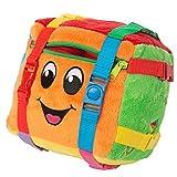 "BUCKLE TOY ""Bingo"" Activity Cube – Toddler Early Learning Basic Life Skills Children's Travel Plush"