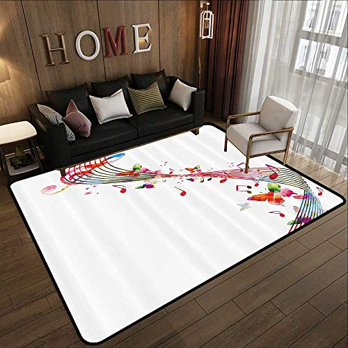 (Low-Profile Mats,Music Decor,Colorful Artwork with Music Notes Butterflies Springtime Party Decorative 47