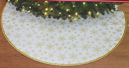Trim a Home 48 Inch Christmas Tree Glitter Skirt - Gold ()
