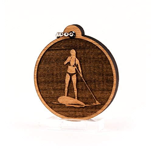 Sunset Design Lab Girl Paddleboarding Surf Paddle Board Woman V2 Wood Laser Cut Keychain Charm Ornament