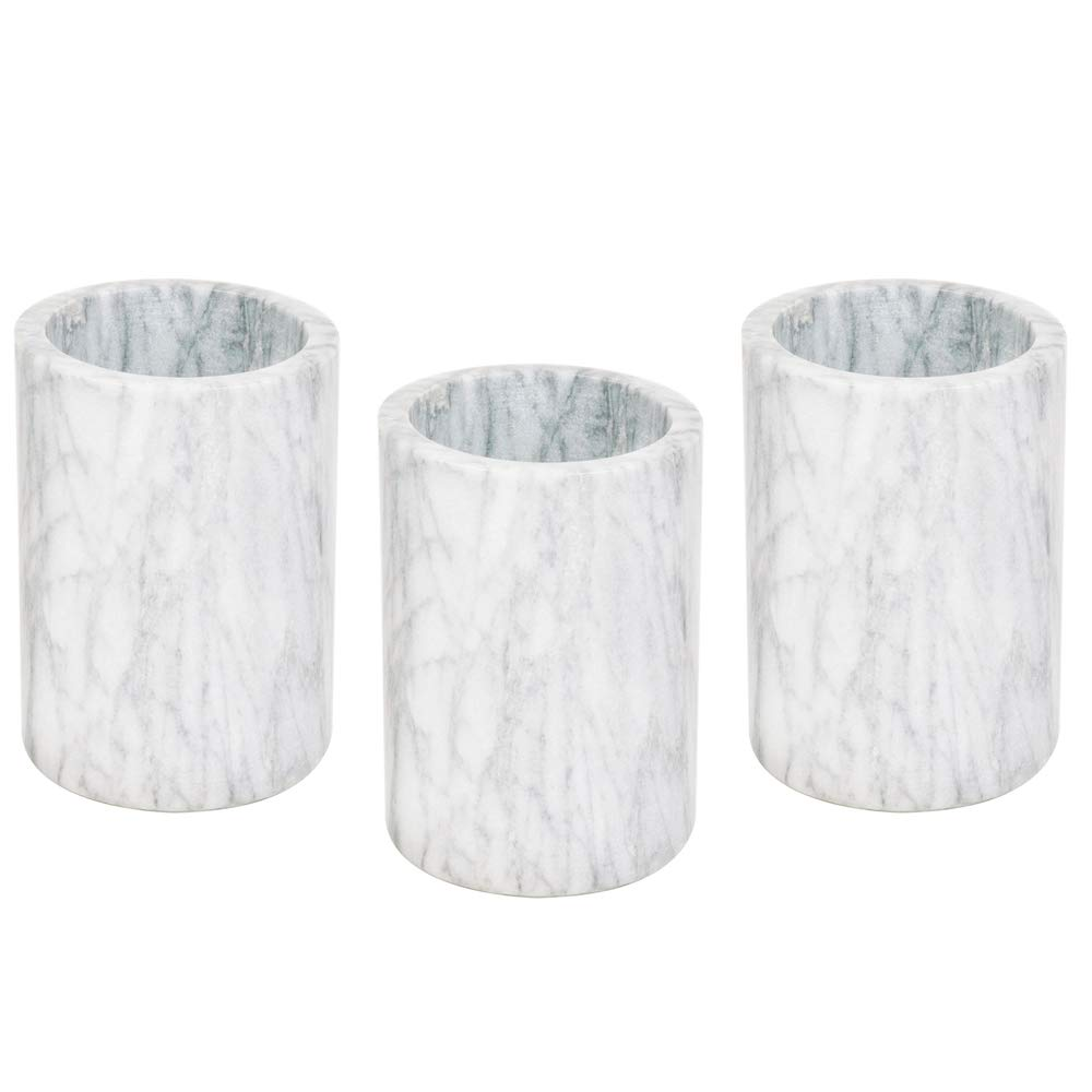 (3 Pack) Marble Wine Cooler/Champagne Chiller, Natural White Marble, 6 x 4-Inch Elegant Wine Bottle Chiller by Tezzorio