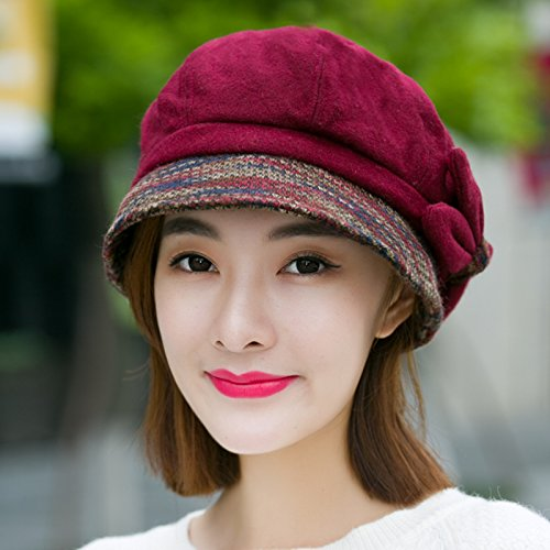 Syksdy Madam Winter Leisure Wool Beret Peaked Cap Claret