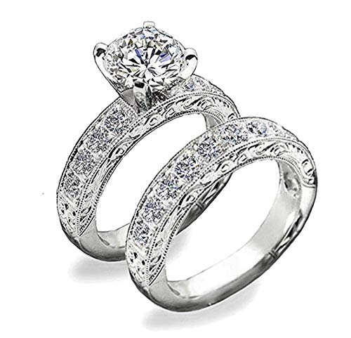 Venetia Supreme Realistic 1.5 or 2 Carats Art Decor Hearts and Arrows Cut Simulated Diamond Ring Band Set Vintage Victorian Style cz (10, 2)
