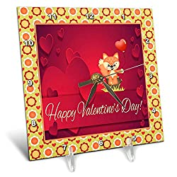 3dRose Beverly Turner Valentine Design - Cute Fox Sitting on Tree Stump Holding Heart Shaped Balloon - 6x6 Desk Clock (dc_306372_1)