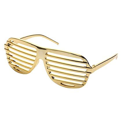 a51242831aa Image Unavailable. Image not available for. Color  Baoblaze Novelty Gold  Plastic Shutter Shades Sunglasses Glasses Fancy Dress Costume Party Props