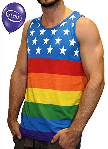 American Flag Pattern Rainbow Tank Top With BeWild Balloon, Rainbow, Mens Medium