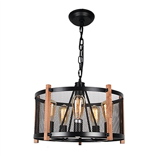 Baiwaiz Round Wood Rustic Chandelier, Farmhouse Pendant Light with Black Metal Mesh Cage Shade 5 Lights Edison E26 067