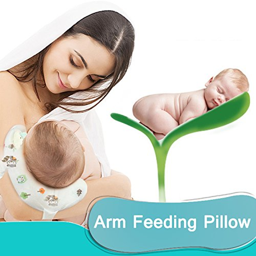 Travel Breastfeeding Pillow, Slip-On Arm Nursing Pillow for Baby,100% Cotton Cover (Blue) by IHClink (Image #1)