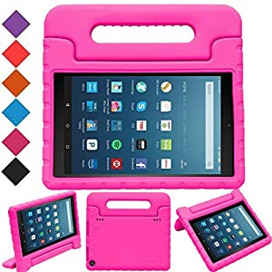 "MENZO Case for All-New Fire HD 8 2017 - Shockproof Convertible Handle Light Weight Protective Stand Cover Kids Case for All-New Kindle Fire HD 8"" 2017 Tablet, Rose"