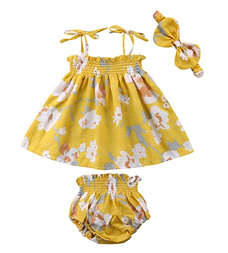 - Newborn Baby Girl Summer Dress Tops+Tutu Pants 2PCS Outfits Clothes Sunsuit Set 0-24M (6-12 Months, Yellow)