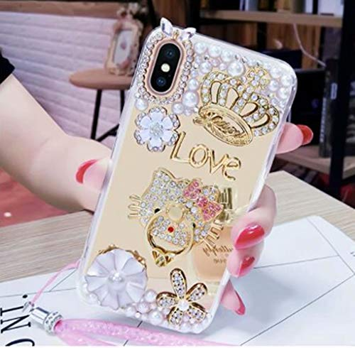 DVR 4000 iPhone Xr Mirror Case,iPhone Xr Bling Case,Luxury Crown Pearl Flower Design with Kickstand Shining Sparking Bling Glitter Diamond Crystal Rhinestone Cover for iPhone Xr 6.1-inch,NO6