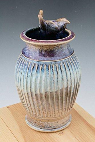 Blue to Red Vase With Bird #26, Blue Textured Pottery Vase, Stoneware Utensil Holder (Adam Vase)