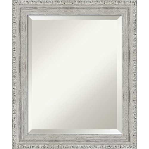 Amanti Art Rustic Whitewash Wood Bathroom Mirror Medium, 21x25