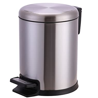 Xena 5 Liter Stainless Steel Office Bin Bathroom trash Can Small with Step Pedal