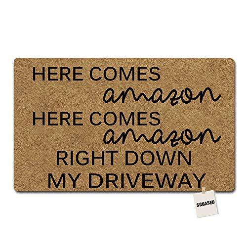 SGBASED Door Mat Funny Doormat Here Comes Amazon Mat Entrance Floor Mat Outdoor & Indoor Rug Doormat Non-Woven Fabric (30 X 18 inches)