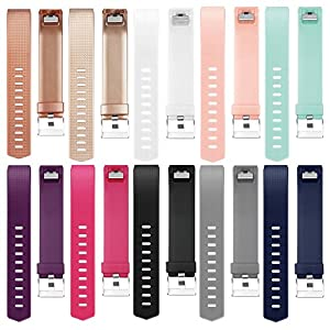 for Fitbit Charge 2 Bands (10 Pack) Large Small Men Women Rose Gold 12 Colors (without Tracker) (10PCs-A, Small)